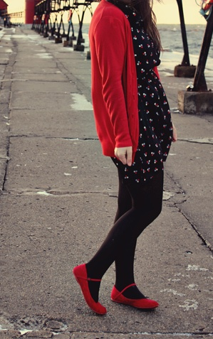 Black with red accents