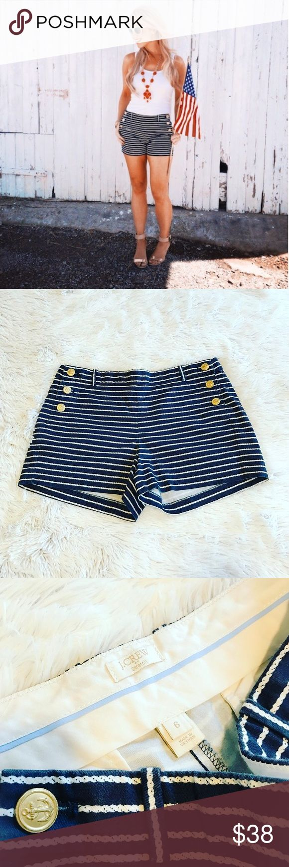 Wknd Sale⭐ J Crew Striped Anchor Shorts J Crew Navy Blue & White Striped Shorts. Anchor design on buttons. Size 6. 97% cotton. 3% spandex gives it some stretch:) Excellent Condition, look brand new! J Crew Shorts