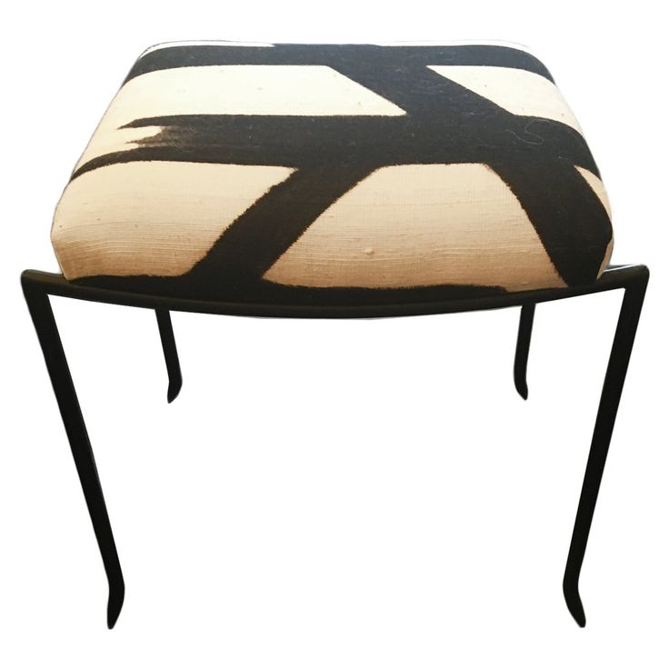 Mosquito Bench Upholstered In Cream And Black Mud Cloth Fabric