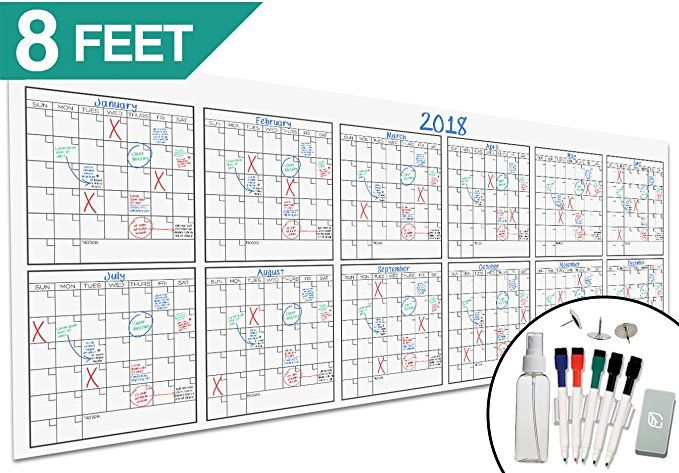 Large Dry Erase Wall Calendar 36 X 96 Blank 2018 2019 Reusable Annual Planner Academic Fiscal Year Dry Erase Wall Calendar Dry Erase Wall Wall Calendar