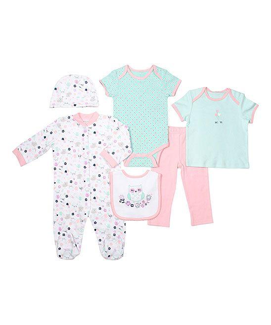Aqua & Pink Owl Six-Piece Layette Set - Infant