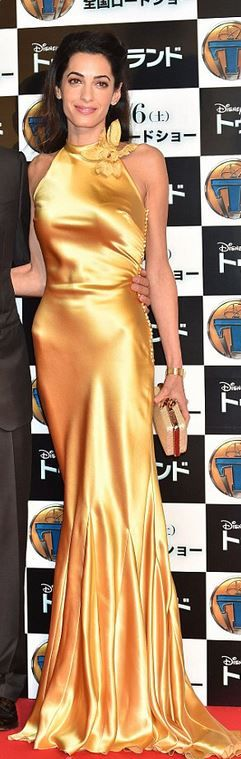 Who made Amal Clooney's yellow gown, clutch handbag, and satin pumps?
