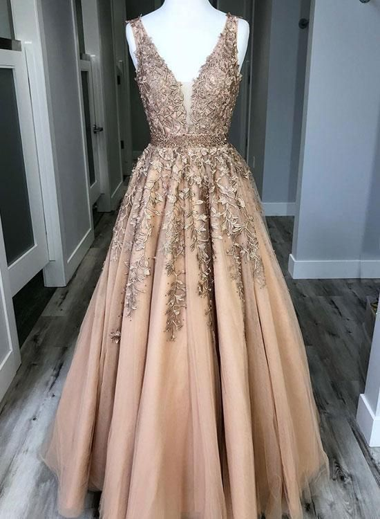 Champagne V neck A-Line Prom Dresses Tulle Evening Dress Long Lace Party Gowns C…