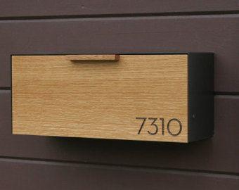 Modern Mailbox Narrow Teak Wall Mounted mailbox by CeCeWorks