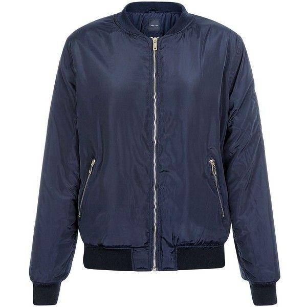 Navy Bomber Jacket ($49) ❤ liked on Polyvore featuring outerwear, jackets, navy, zipper jacket, shiny jacket, zip jacket, flight jacket and bomber jacket