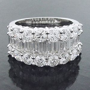 Lady's Cocktail Ring Round Brilliant, Baguette Cut Diamond: Diamond Engagement Rings   Semi Mount Ring   Solitaire Ring