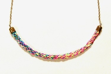 Ombre necklace / statement necklace / bib necklace - An amazing statement necklace made by combining colourful satin cords. Great conversation piece that will be sure to catch many eyes.