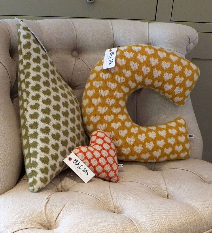 Knitted heart pattern letter cushion