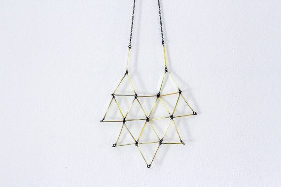 Gold Geometric Necklace-  Minimal Statement Glass Necklace- faceted