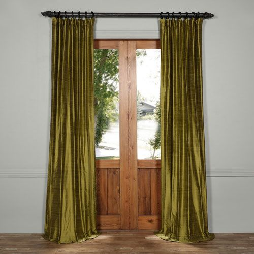 Exclusive Fabrics & Furnishings Paradise Green 84 x 50-Inch Textured Dupioni Silk Curtain