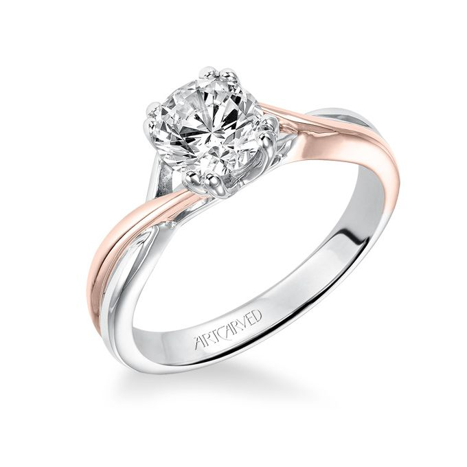 Brides: ArtCarved. See more details about this ring at ArtCarvedBridal.com�Solitude, diamond two-tone engagement ring with high polished split shank, twist design and double prong setting.