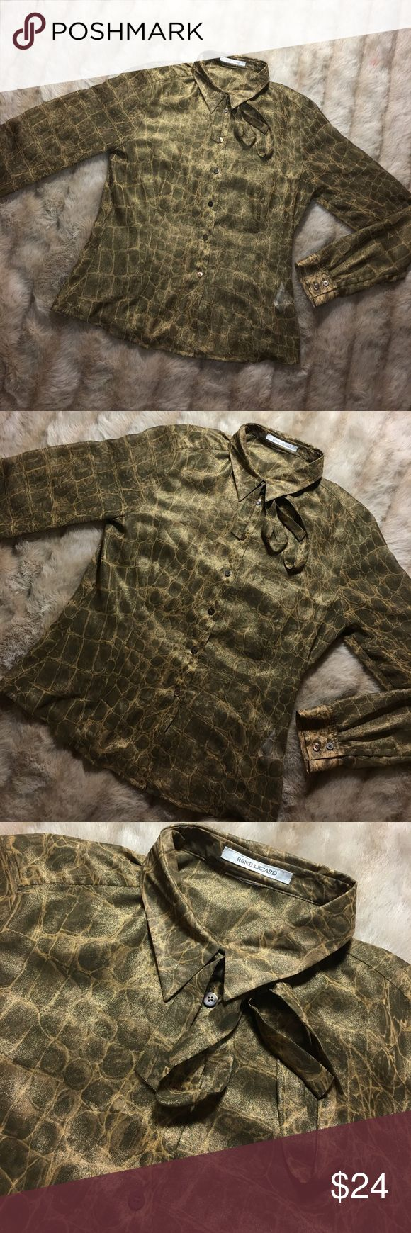 Rene Lezard Blouse x top x Shirt x Collar tie Silk Beautiful Rene lezard Blouse. Size fits a medium - excellent condition rene lezard Tops