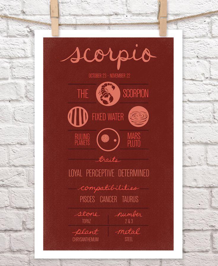 "SCORPIO Zodiac Print, Poster, Illustration of Birth Sign, Wall Art, Decor, Constellation, ""SCORPIO"" Birthday Design by ZodiacZone on Etsy https://www.etsy.com/listing/130176990/scorpio-zodiac-print-poster-illustration"