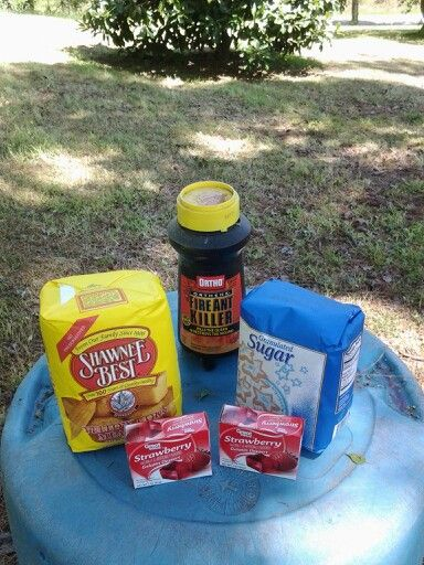 Fire ant killer This really works! 5lbs Cornmeal 1Cup Sugar 2 pkgs strawberry or cherry jello (red) 1Cup of Ortho Orthene. Sprinkle on fire ant mounds.