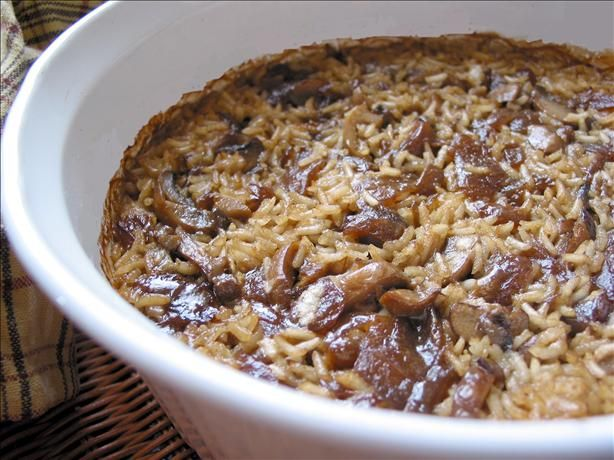 Consomme Rice Casserole -   I find the Parmesan unnecessary and melt 3/4 stick of butter in an 8x8 dish before adding the other ingredients. Converted rice is long grain white rice (not instant). You can add the mushrooms at the beginning but they get dark so you could wait until the last 10-15 minutes to add. I bake mine for 45 minutes at 350 - Perfect every time
