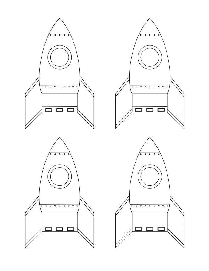 Okul Oncesi Uzay Konusu Icin Roket Boyama Sayfasi Free Printables