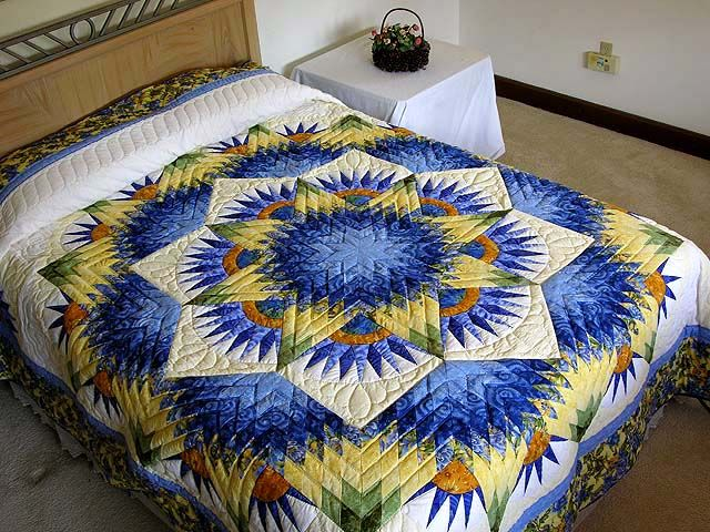 blue and yellow quilts | Blue and Yellow Compass Star Quilt