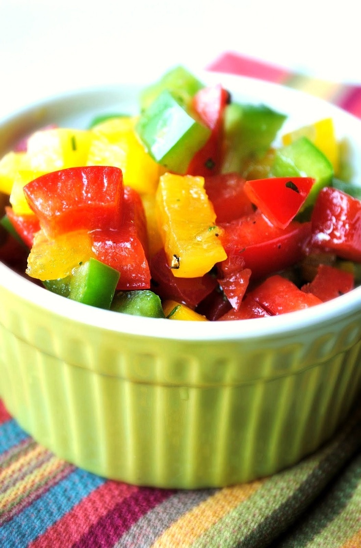 Bell Pepper Salad by How To: Simplify.  Bell peppers are a great way to eat the rainbow naturally! #additudemag and #adhdplate