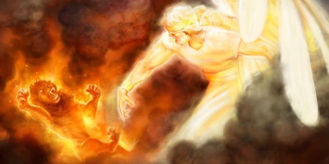 The glorified Jesus Christ hurls Satan, depicted as a roaring lion, to destruction Revelation 20:1-3