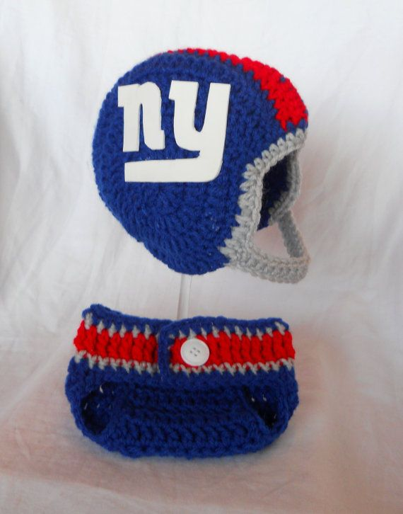 13592c0c393 Crochet New York Giants Football Inspired Baby Helmet Hat and Diaper Cover  Set - 0-3 Month or 3-6 Month Sizes on Etsy