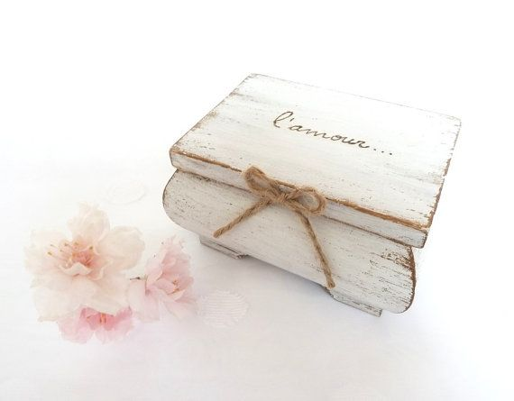 Wedding Ring Bearer Pillow Box White Ring Bearer by SayaArtDesign