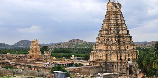 Virupaksha temple located in Hampi 350 km from Bangalore, in the state of Karnataka in southern India.