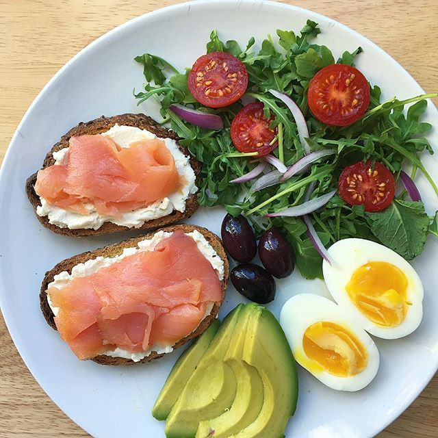 Good morning. Starting off the day with some of my favorite things. Smoked salmon with dairy free cream cheese on rye toast with a half boiled egg, avocado, olives and arugula salad with a squeeze of lemon. Hope you have a great day!