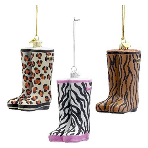 Kurt Adler 4Inch Noble Gems Animal Print Wellies Rain boot Glass Ornaments Set of 3 >>> You can find more details by visiting the image link.