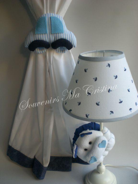 Velador decorado con hipoptamo y sujeta cortina auto  Linea deco kids  Souvenir Baby y Home Decor