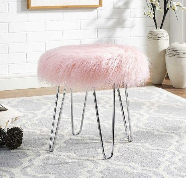 Pink Faux Fur Stool Ottoman For Girls Teens Women Small Vanity