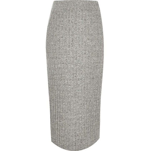 River Island Grey ribbed knit midi skirt (£41) ❤ liked on Polyvore featuring skirts, grey, midi skirts, women, tall skirts, river island, grey midi skirt, ribbed skirt and gray midi skirt