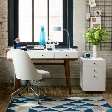 Asian Arts Daniel Modern Study Desk White And Brown,Study Tables
