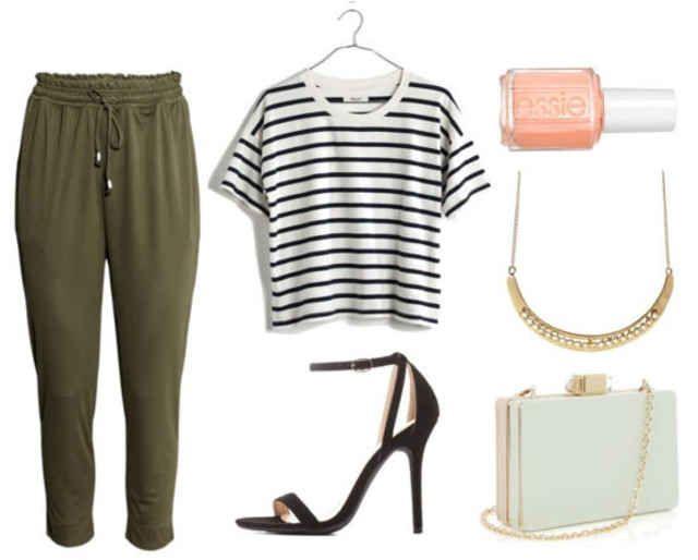Olive green jogger pants, striped shirt, black heels, mint bag, gold necklace, pink nail polish