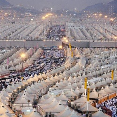 Pilrgrims camp in Mina during the Hajj before going to the plain of Arafat to pray