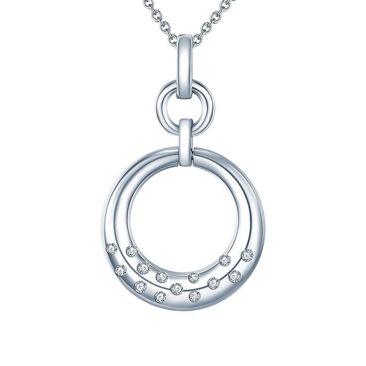 Colier și pandantiv Carat 1934 cercuri argint cu zirconii albe