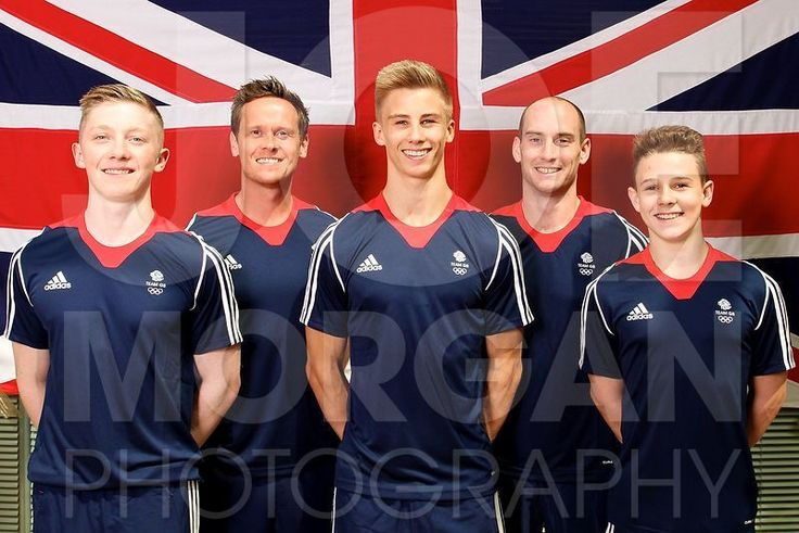 Team GB Youth Male Gymnastics athletes and team staff (L-R) Nile Wilson, Barry Collie, Gaius Thompson, David Massam & Brinn Bevan line up for their photo to be taken at the Team GB kitting out and prep camp at Heathrow, London ahead of the European Youth Olympic Festival in Utretch, Netherlands on Friday 12th July 2013