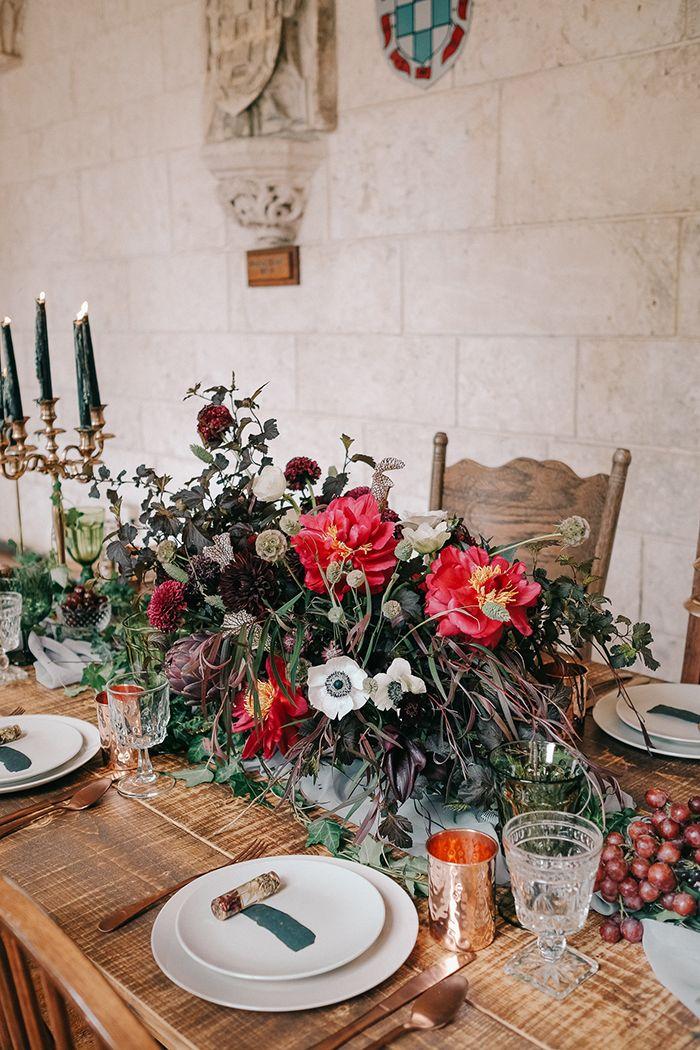 Luxe Organic Wedding Tablescape in Garnet and Emerald    #gameofthrones #wedding #weddingideas #weddingdecor #centerpiece #tablescape