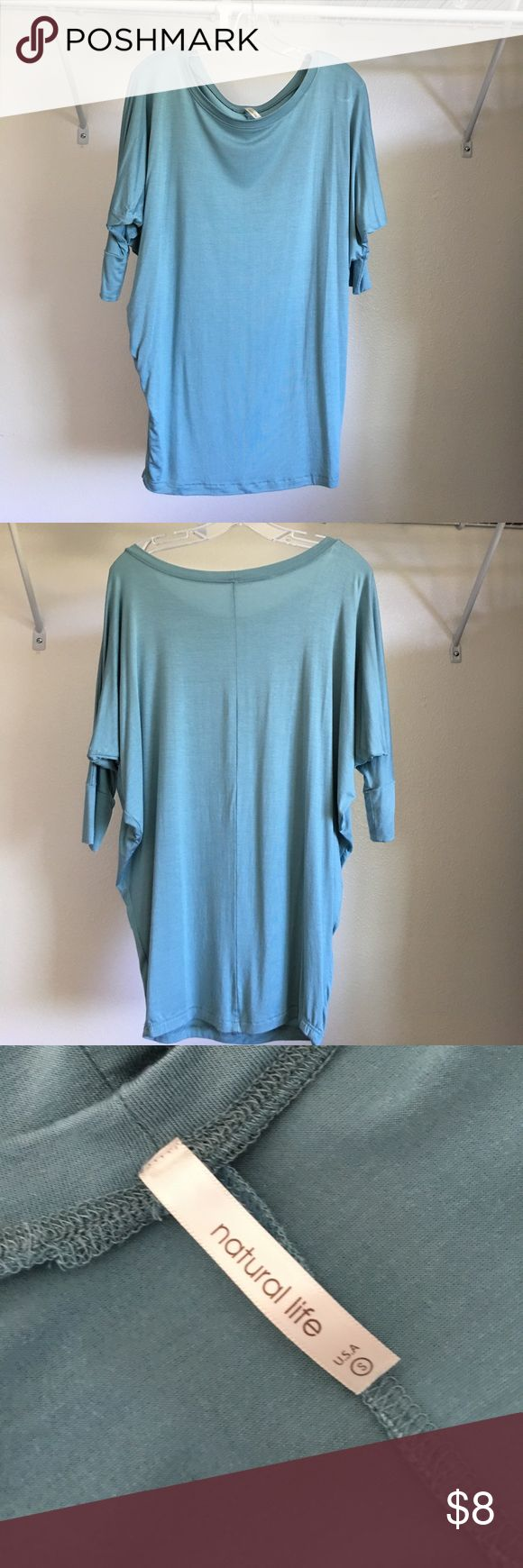 "Light green-blue ""slouchy top"". Size S. Light green-blue ""slouchy top"" that bunches up at the waist for a ""lose""fitting w/mid sleeves. Cool, comfortable material. Size S (but fits baggy) , modal & spandex mix. Natural Life brand. NATURAL LIFE Tops Blouses"