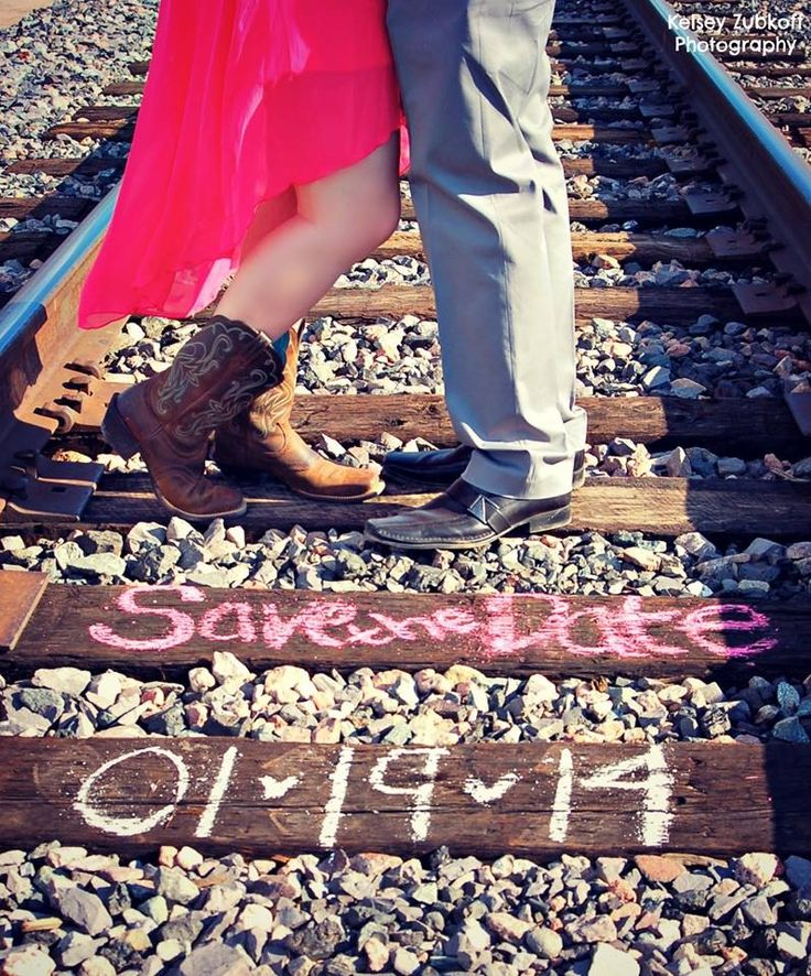 Save The Date Railroad Tracks photography