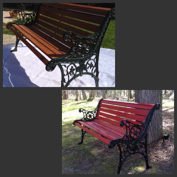 Park Bench Ideas Part - 37: Refinished Park Bench (Wood U0026 Dark Green) To (Colonial Red U0026 War Black