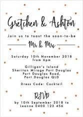 Cute spotty engagement invitations!  http://candlebarkweddings.com.au/pre-wedding-events/engagement-invitations.html