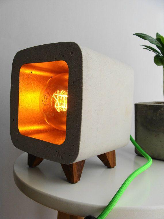 Concrete lamp night light design vintage... by Handcraftsquare