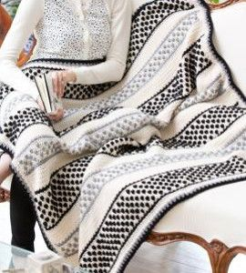 Domino Crochet Bobble Stitch Throw | AllFreeCrochetAfghanPatterns.com