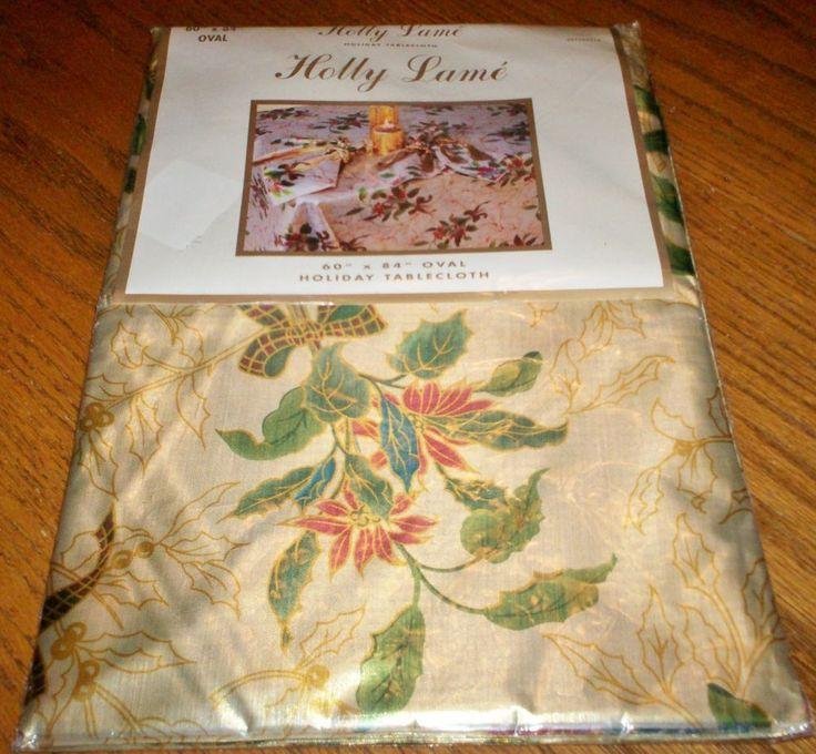 NIP 60 X 84 Oval Holly Lameu0027 Christmas Holiday Tablecloth Designeru0027s  Collection