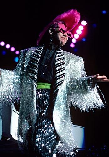 Elton John performs at New York City's Madison Square Garden, 1986.