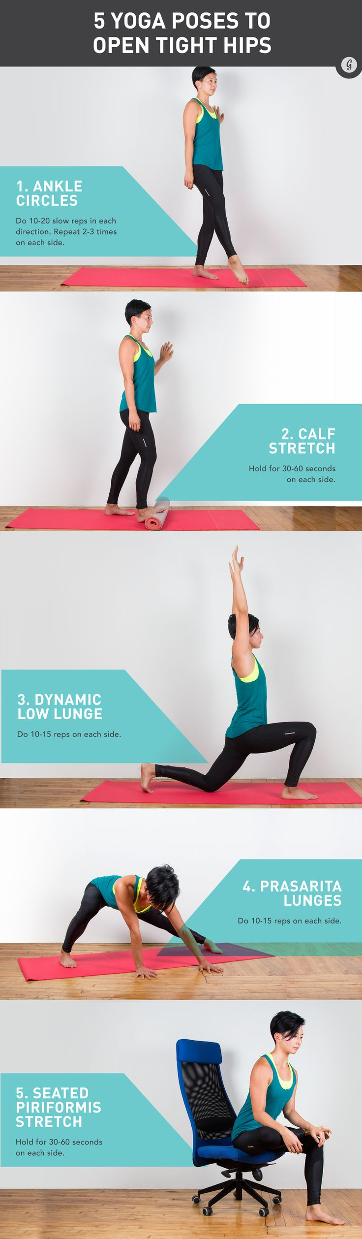 Whether your hips are tense from too much desk sitting or sore from workouts, this yoga sequence will leave your hips feeling loose and soothed. #yoga #stretches