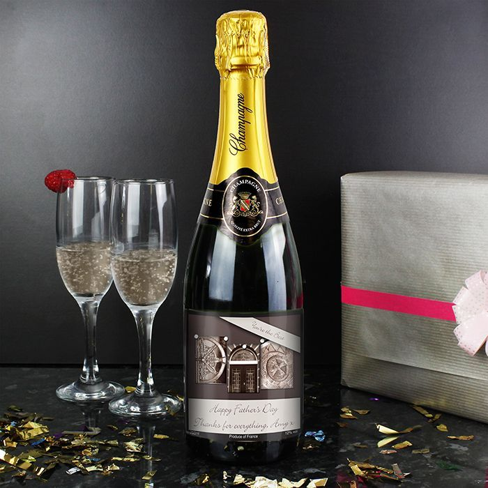 Personalise this DAD champagne with any message of your choice The image on the label is made up of different architectural images to display the