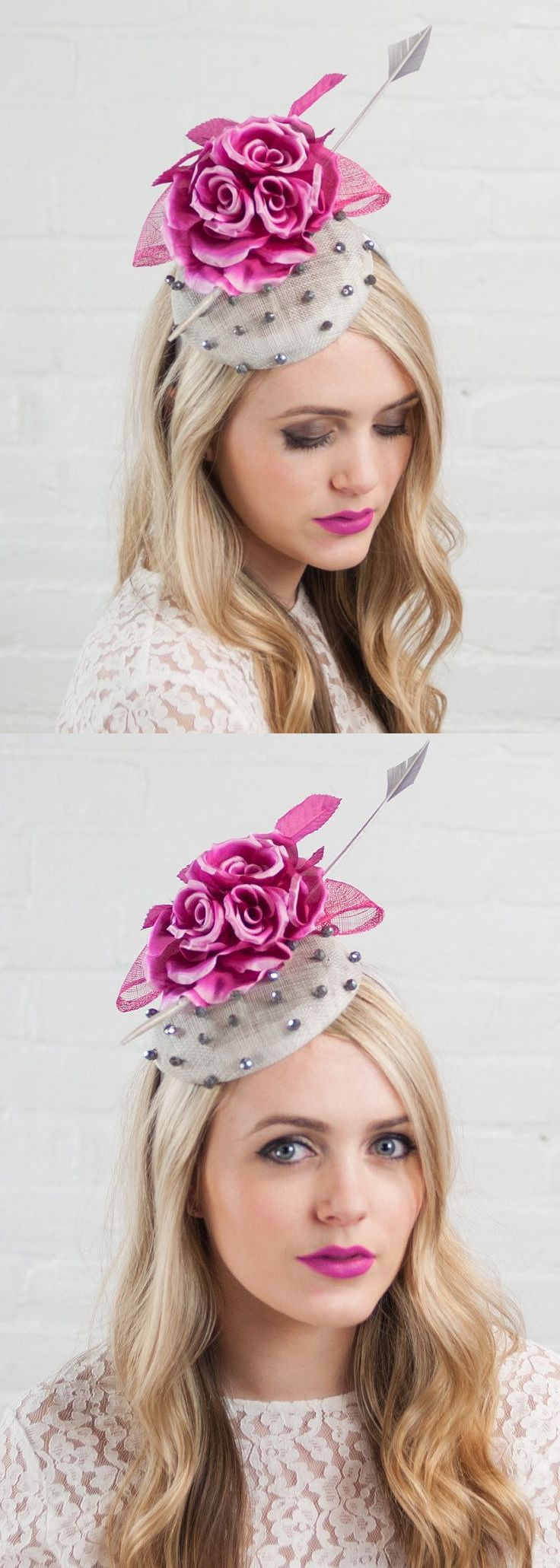 Dotted Pink Silver Floral Fascinator Hat, Hatinator. Fascinator for Kentucky Derby, Oaks Day, Royal Ascot Ladies Day, Del Mar racing fashion outfit ideas. Fashionista hats and headpieces for the races, Mother of the Bride, Kentucky Derby, spring summer Wedding guest outfits. #racingfashion #fashionsonthefield #royalascot #kentuckyderby #hats #millinery #derbyhats #fashion #fashionista #affiliatelink #ootd #floralhats #fascinators #etsyfinds #kentuckyderbyoutfits #etsy #shopsmall