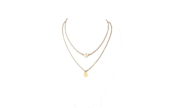 Lady Double Peace Pigeons Gold Plated Necklace