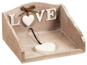 Box na ubrousky hnědá patina -LOVE